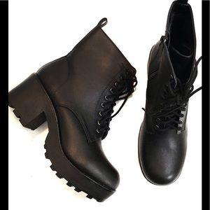 SODA Chunky Heel Black Booties Size 9